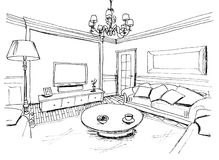 Graphical sketch of an interior living room stock images