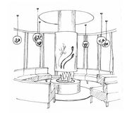 Graphical sketch of an interior living room Royalty Free Stock Image