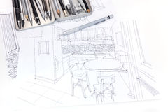 Graphical sketch of kitchen interior and furniture blueprint wit. Hand drawn sketch of kitchen interior and furniture blueprint with drawing tools stock photo