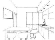 Graphical sketch, the kitchen Stock Images