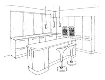 Graphical sketch, the kitchen Stock Photos