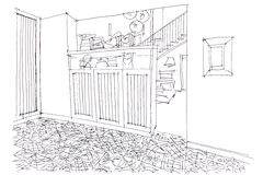 Graphical sketch of living room interior design with furniture Stock Photo