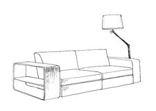Graphical sketch of  modern sofa Stock Photos