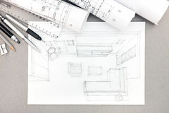 Graphical sketch by pencil of interior living room with drawing Royalty Free Stock Photography