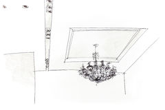 Graphical sketch by pencil of variant for ceiling light Stock Photo