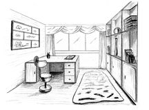 Graphical sketch, private office Stock Photography
