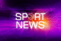 Graphical Sport News Background Concept Series. Graphical Sport News Background with Text and Circuit Lines. 3d illustration, 3d Render Stock Photography