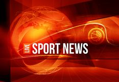 Graphical Sport News Background with Text and curves around earth. Globe Royalty Free Stock Photography