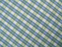 Graphical textile pattern. Blue, green and white textile background stock photo