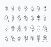Graphical tree set, isometric line style Stock Photography