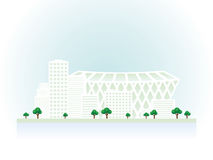 Graphical urban cityscape with soccer stadium. Royalty Free Stock Image