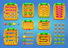 Graphical user Interface GUI for mobile game or app. Design, buttons and icons. Vector illustration. Royalty Free Stock Image