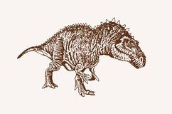 Free Graphical Vintage Megalosaurus ,sepia Background, Vector Illustration, Lizard Stock Image - 185761271