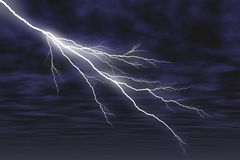 Graphically rendered bolt of lightning and clouds Royalty Free Stock Images