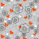 Graphically seamless pattern with flowers Royalty Free Stock Photo