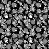Graphically seamless pattern with flowers and leaves Stock Photography