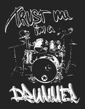 Graphics for Apparel, drums t-shirt design. Graphics for Apparel, drummer t-shirt design Royalty Free Stock Images