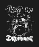 Graphics for Apparel, drums t-shirt design. Graphics for Apparel, drummer t-shirt design vector Stock Images