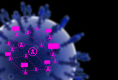Graphics blue human social network. As concept stock photo