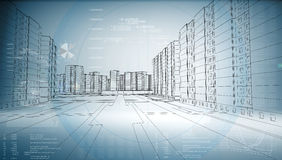 Graphics of the business city Stock Images