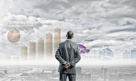 Graphics and business strategy. Rear view of businessman looking at business marketing strategy stock photos