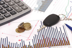 Graphics with calculator and car key and money Royalty Free Stock Photos