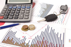 Graphics with calculator and car key, money Stock Photos