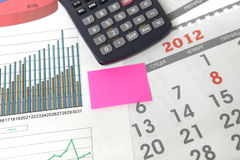 Graphics with calendar and calculator Royalty Free Stock Images