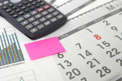 Graphics with calendar and calculator Royalty Free Stock Photo