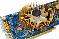 Graphics Card. A still photo taken on a graphics card with heat sink fan for computer assembly stock photography