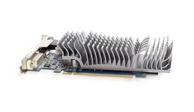 Graphics card equipped with heat sink without fan closeup. Graphics card for use in a desktop PC equipped with heat sink without a fan at shallow depth of field Stock Photos