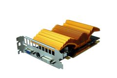 Graphics card isolated on white. With golden color passive cooling and single combined output, pci-e slot stock photography