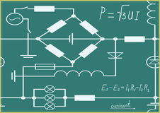 Graphics, chart and formulas of electricity. Royalty Free Stock Photo
