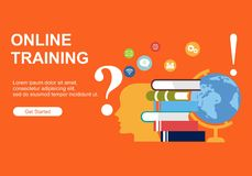 Web page design templates for Online training, education. Modern vector illustration concepts for website and mobile website devel vector illustration