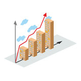 Graphics construction growth. Buildings of city, and growth. Vec Royalty Free Stock Images