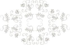 Graphics, design elements floral ornament. Thin black lines on a white background Royalty Free Stock Image