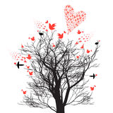 Graphics design tree with love birds and hearts Stock Image