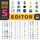Graphics Editor 150 line flat isometric mobile web Royalty Free Stock Images