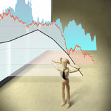 Graphics fall v2. Puppet holding his head against a background of falling charts Stock Photo