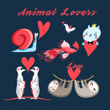 Graphics festive set of animal lovers. On a dark background Royalty Free Stock Photo