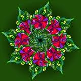 Graphics filigree ornament for design. Graphics filigree floral ornament on dark background for design Stock Image