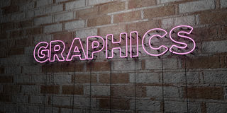 GRAPHICS - Glowing Neon Sign on stonework wall - 3D rendered royalty free stock illustration Stock Photos