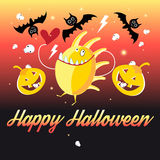 Graphics Halloween monsters and pumpkins Royalty Free Stock Photo