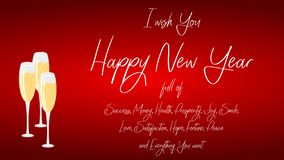 Happy New Year - greeting card with three glasses of champagne on a red background. Graphics for the New Year. Download graphics with greetings and glasses of royalty free illustration