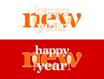 Happy new year - words on the word and two glasses of champagne royalty free illustration