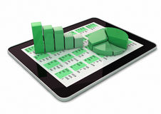 Graphics over a tablet Royalty Free Stock Photo