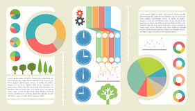 Graphics. Poster showing graphics and articles stock illustration