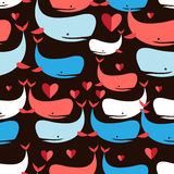 Graphics seamless pattern Lovers whales Stock Images