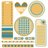 Graphics set with colorful tags, labels, heart and trims Stock Images