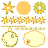 Graphics set with tags, labels,flowers,hearts Stock Images